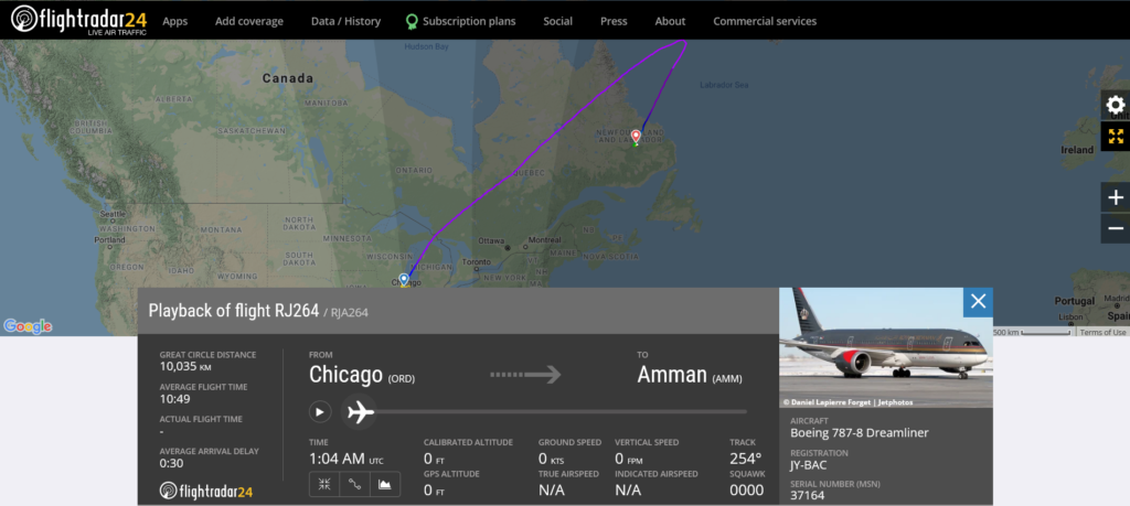Royal Jordanian flight RJ264 from Chicago to Amman diverted to Goose Bay due to medical emergency