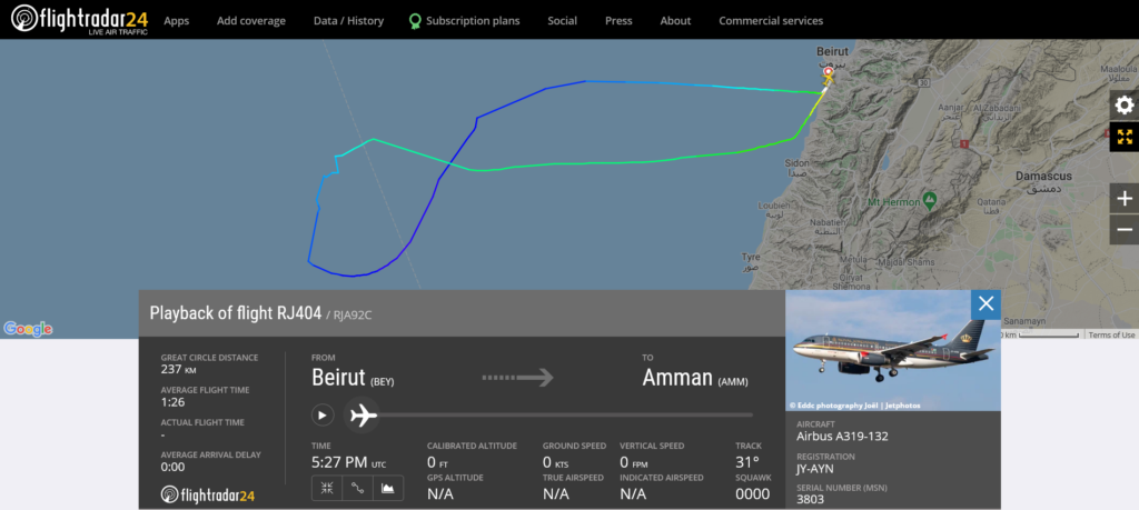 Royal Jordanian flight RJ404 from Beirut to Amman returned to Beirut due to a technical issue