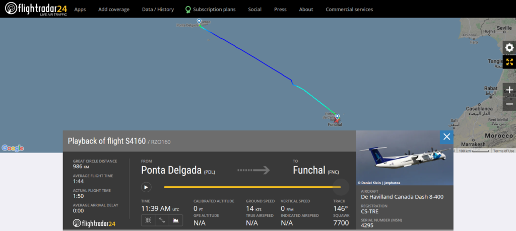 Azores Airlines flight S4160 from Ponta Delgada to Funchal declared an emergency and made emergency landing at Funchal due to a pressurisation issue