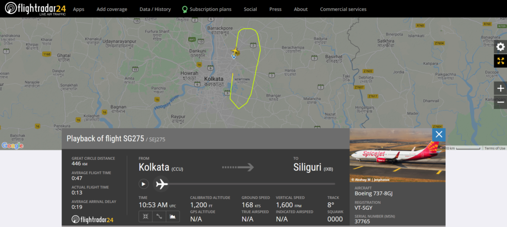 SpiceJet flight SG275 from Kolkata to Astrakhan returned to Bagdogra – Siliguri due to smoke in the cabin