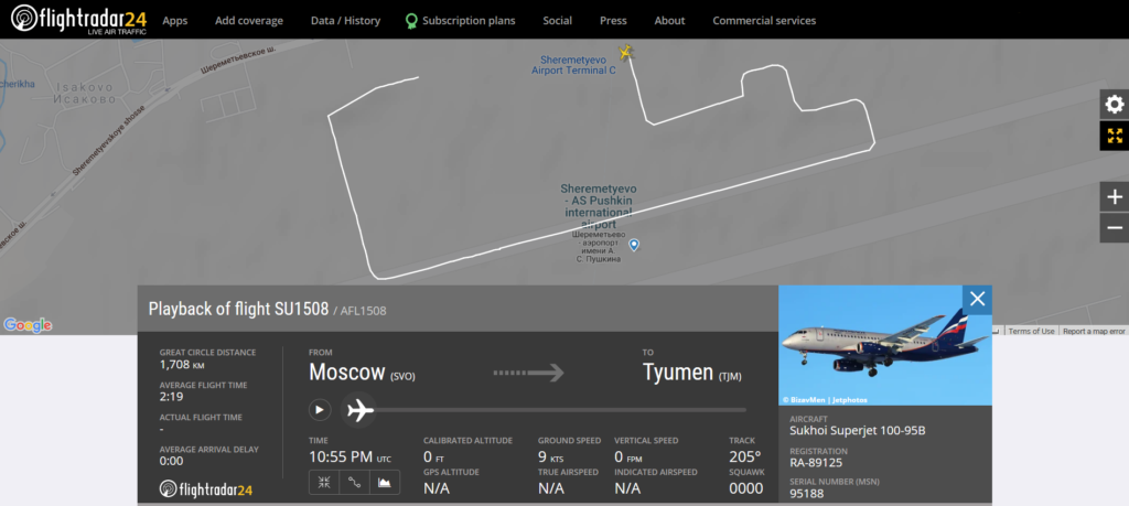 Aeroflot flight SU1508 from Moscow to Tyumen rejected takeoff due to a brakes issue