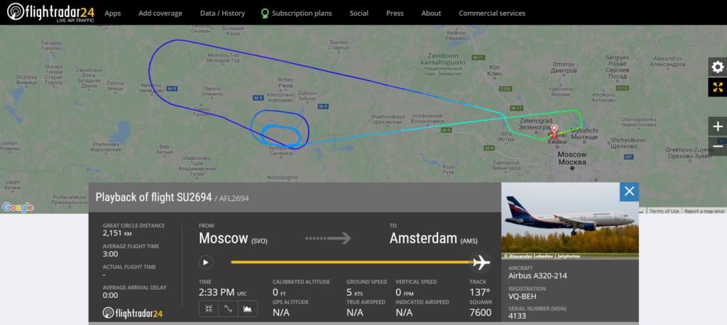 Aeroflot flight SU2694 from Moscow to Amsterdam and returned to Moscow due to a radio partial failure