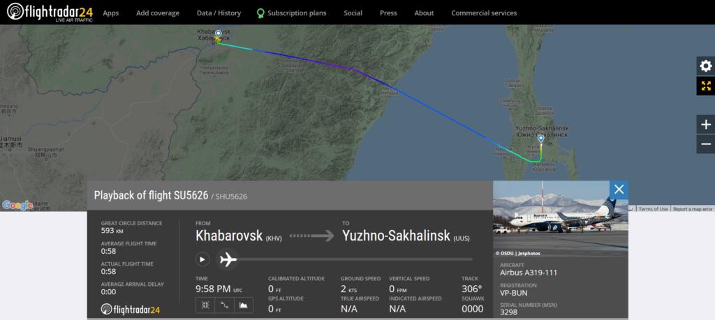 Smoke in the cockpit reported on Aeroflot flight SU5626 from Khabarovsk to Yuzhno-Sakhalinsk