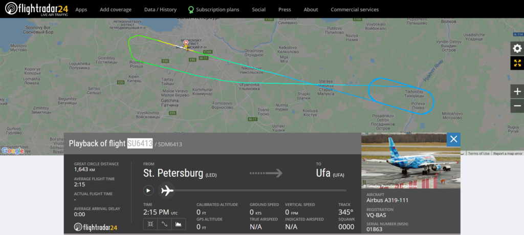 Aeroflot flight SU6413 from St. Petersburg to Ufa returned to St. Petersburg due to a display system issue