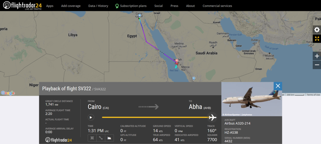 Saudia flight SV322 from Cairo to Abha declared an emergency (squawk 7700) and diverted to Jeddah due to a pressurisation issue