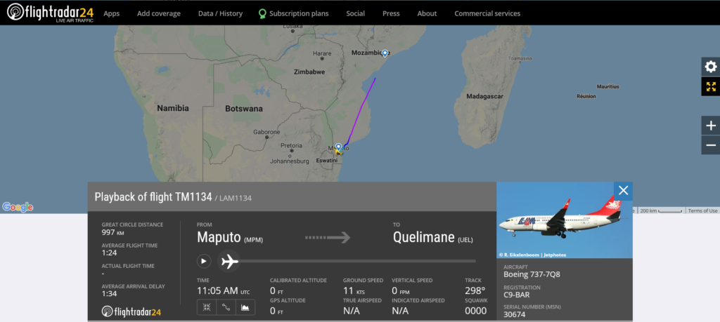 LAM Mozambique Airlines flight TM1134 from Maputo to Quelimane suffered runway excursion on landing