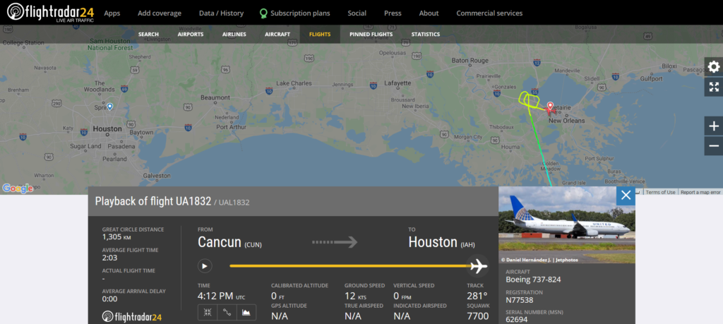 United Airlines flight UA1832 from Cancun to Houston declared an emergency and diverted to New Orleans due to a mechanical issue