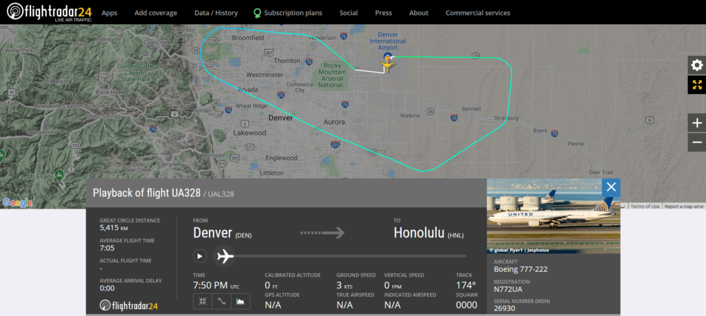 United Airlines flight UA328 from Denver to Houston returned to Denver due to an engine issue