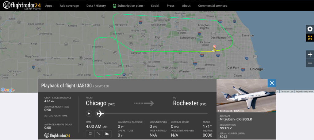 United Airlines flight UA5130 from Chicago to Rochester returned to Chicago due to unusual noise heard in the cockpit