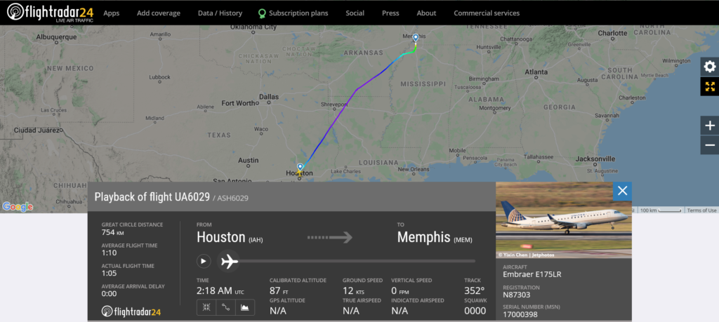 A United Airlines flight UA6029 from Houston to Memphis encountered turbulence