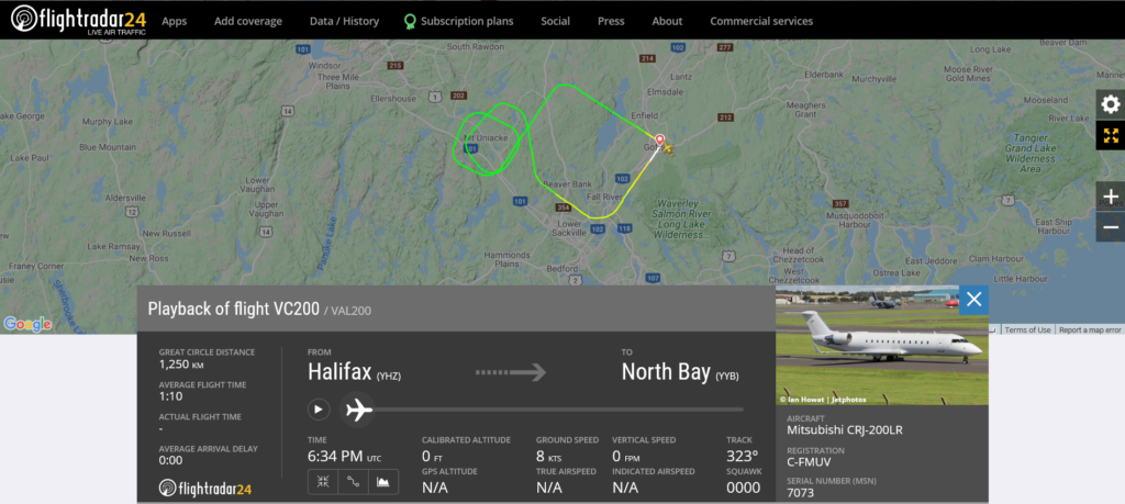 Voyageur Airways flight VC200 from Halifax to North Bay returned to Halifax due to a landing gear issue