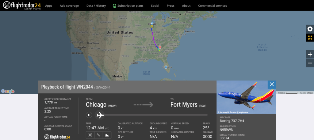Southwest Airlines flight WN2044 from Chicago to Fort Myers diverted to Atlanta