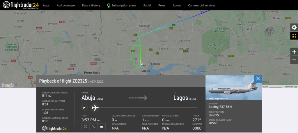 Azman Air flight ZQ2325 from Abuja to Lagos suffered a burst tyre on landing