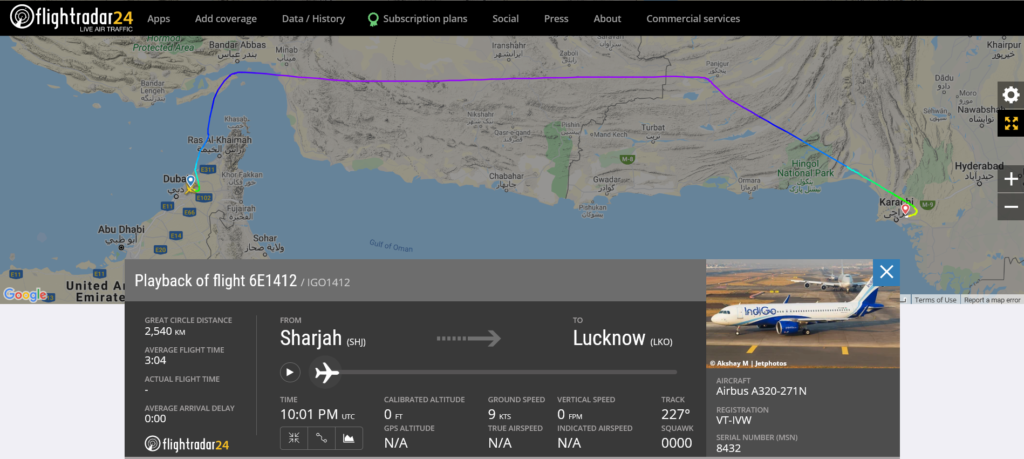 IndiGo flight 6E1412 from Sharjah to Lucknow diverted to Karachi due to medical emergency
