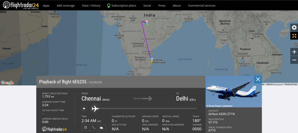 IndiGo flight 6E6235 from Chennai to Delhi diverted to Nagpur due to medical emergency