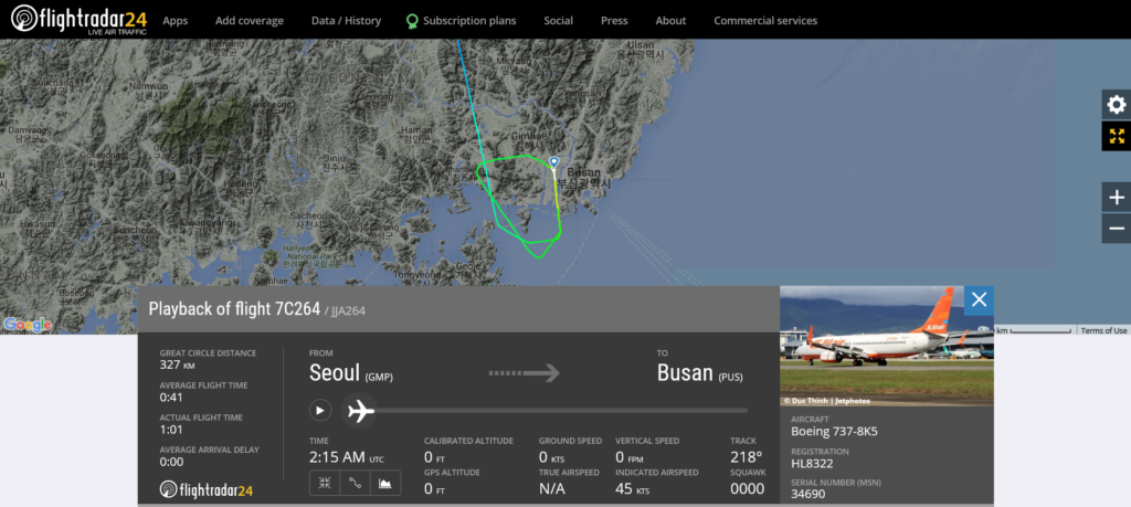 Jeju Air flight 7C264 from Seoul to Busan suffered wing tip strike on landing