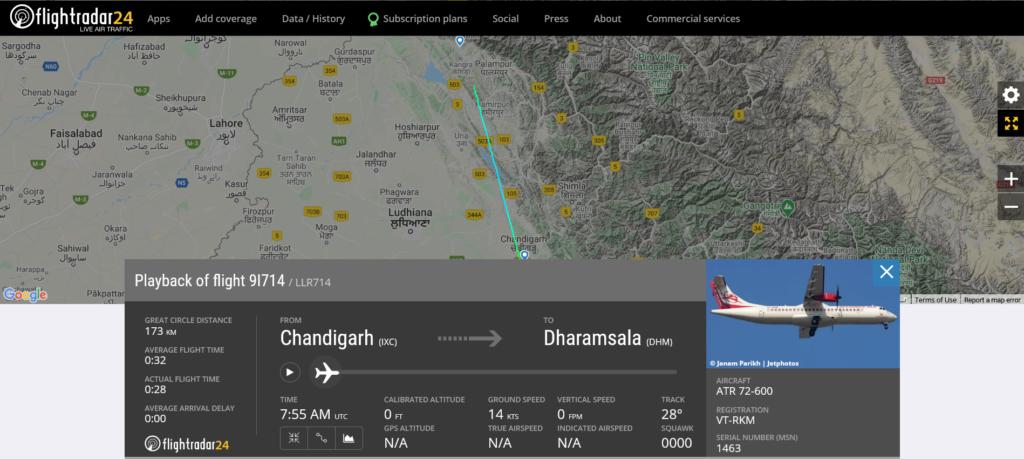 Alliance Air flight 9I714 from Chandigarh to Dharamsala suffered bird strike