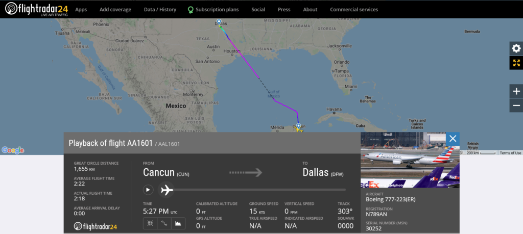 American Airlines flight AA1601 from Cancun to Dallas encountered a turbulence