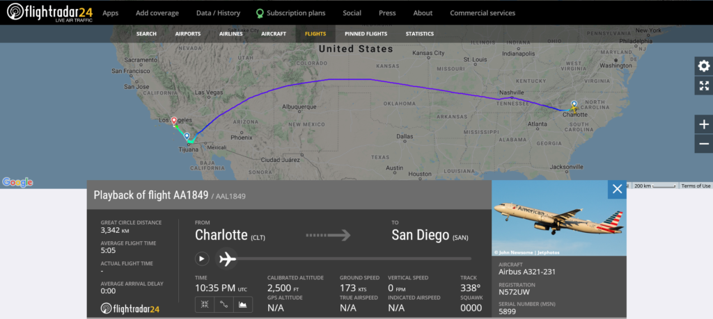 American Airlines flight AA1849 from Charlotte to San Diego diverted to Los Angeles