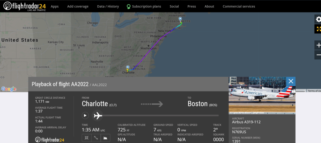American Airlines flight AA2022 from Charlotte to Boston suffered hydraulic issue