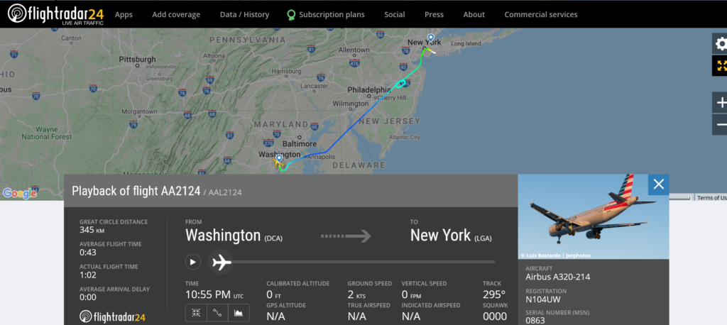 American Airlines flight AA2124 from Washington New York – LaGuardia diverted to New York - John F. Kennedy due to hydraulic issue