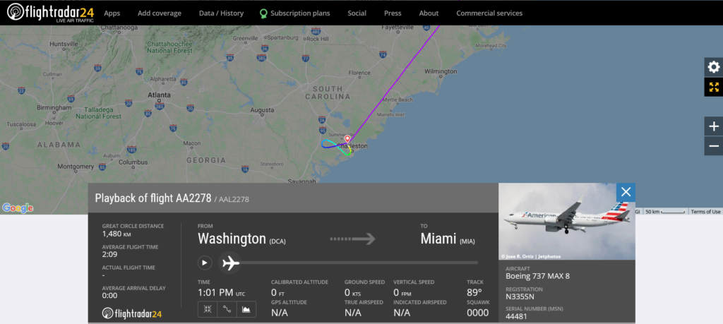 American Airlines flight AA2278 from Washington to Miami diverted to Charleston due to medical emergency