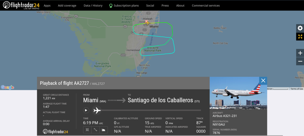 American Airlines flight AA2727 from Miami to Santiago de los Caballeros returned to Miami due to pressurisation issue