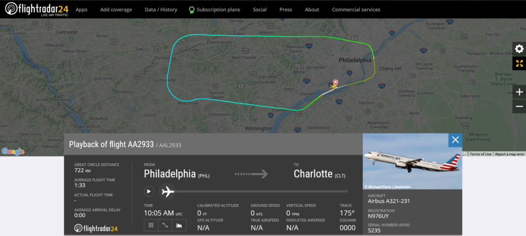 American Airlines flight AA2933 from Philadelphia to Charlotte returned to Philadelphia due to fumes on board