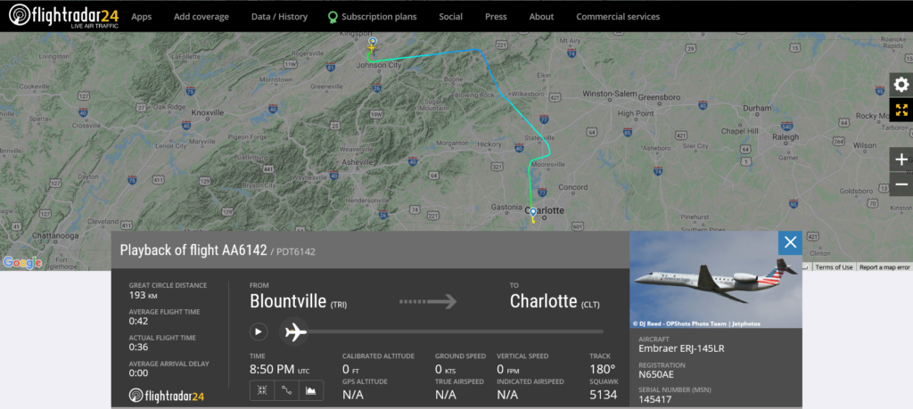American Airlines flight AA6142 from Blountville to Charlotte encountered turbulence