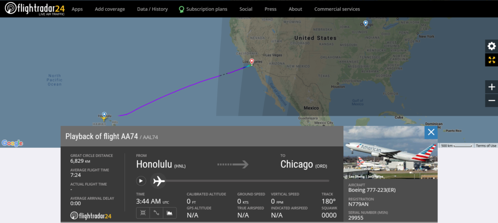American Airlines flight AA74 from Honolulu to Chicago diverted to Los Angeles due to tyre pressure issue
