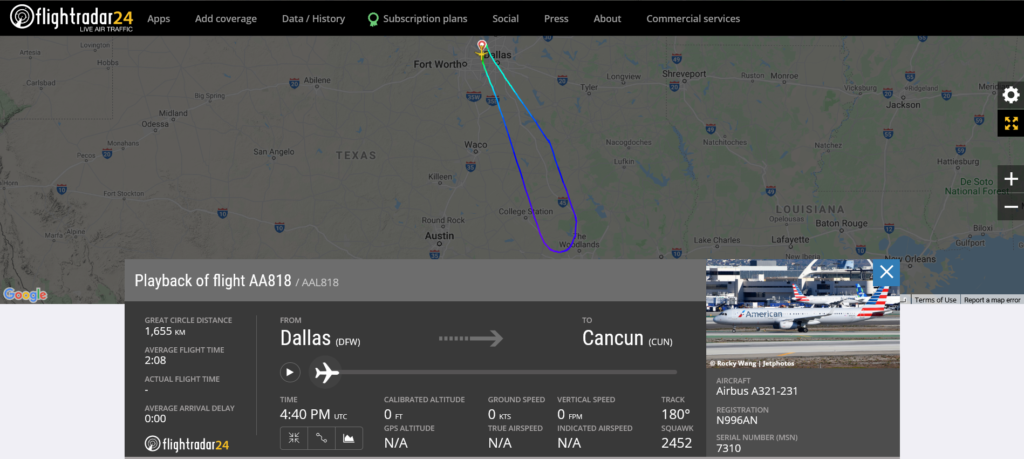 American Airlines flight AA818 from Dallas to Cancun returned to Dallas due to an engine issue