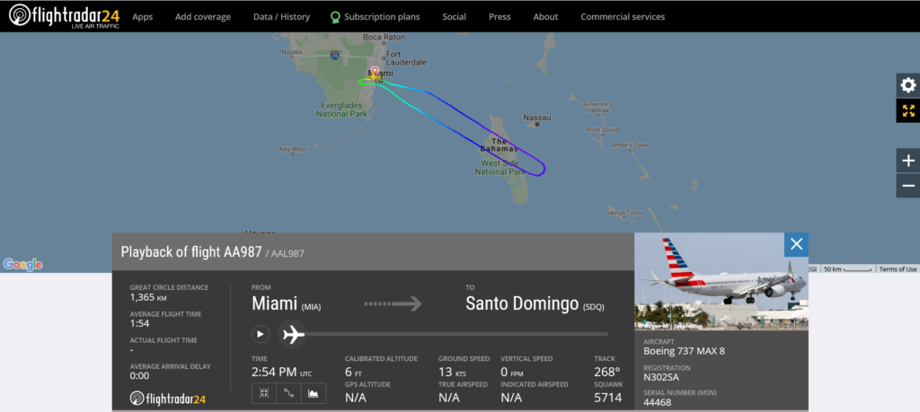 American Airlines flight AA987 from Miami to Santo Domingo returned to Miami due to pitch trim issue