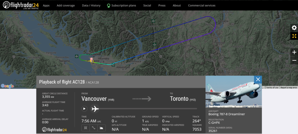 Air Canada flight AC128 from Vancouver to Toronto returned to Vancouver due to cracked windshield