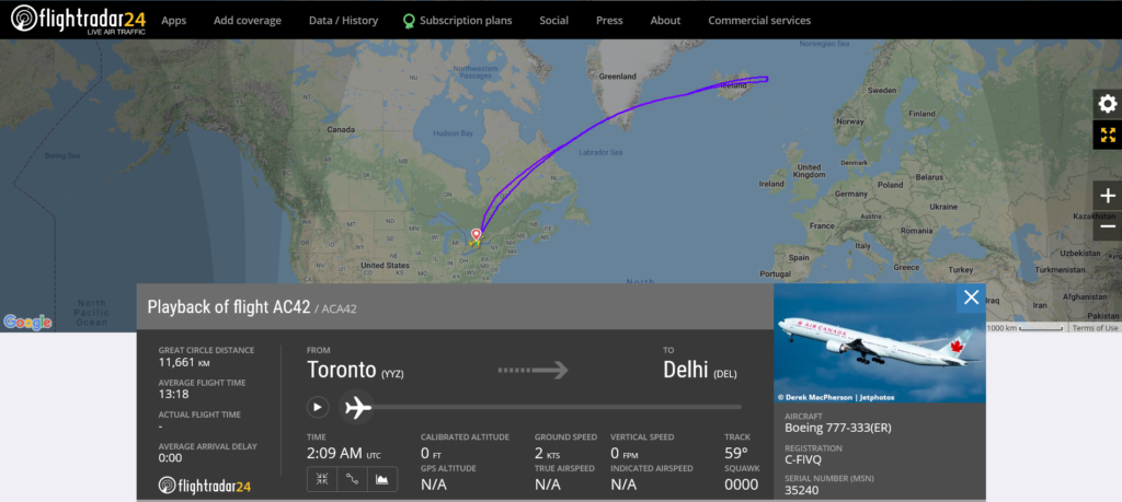 Air Canada flight AC42 from Toronto to Zanzibar returned to Toronto due to a mechanical issue