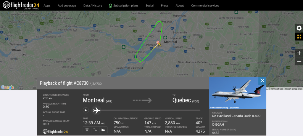 Air Canada flight AC8730 from Montreal to Quebec returned to Montreal due to hydraulic issue