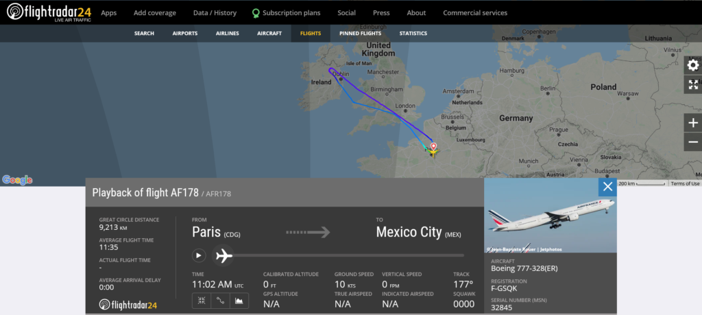 Air France flight AF178 from Paris to Mexico City returned to Paris