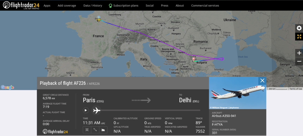 Air France flight AF226 from Paris to Delhi diverted to Sofia due to a disruptive passenger