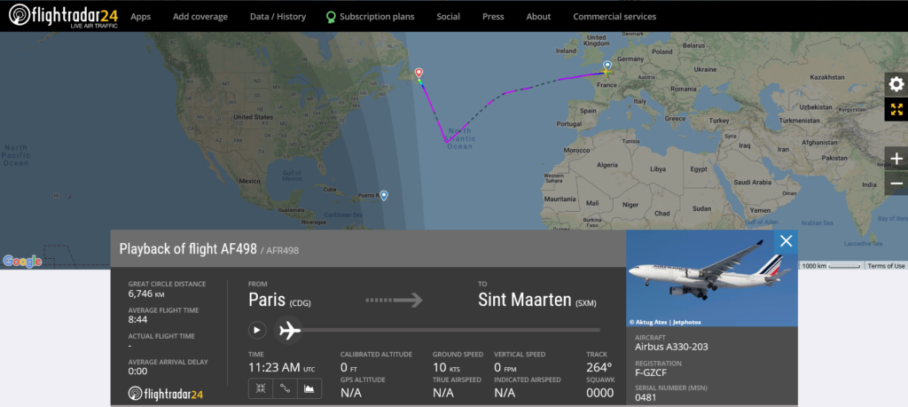 Air France flight AF498 from Paris to Sint Maarten diverted to St. John's due to medical emergency