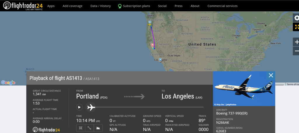Alaska Airlines flight AS1413 from Portland to Los Angeles diverted to Sacramento due to medical emergency