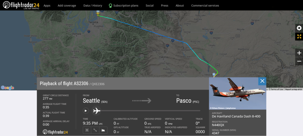 Alaska Airlines flight AS2306 from Seattle to Pasco encountered turbulence