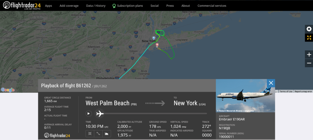 JetBlue flight B61262 from West Palm Beach to New York - John F. Kennedy diverted to New York – LaGuardia due to flaps issue