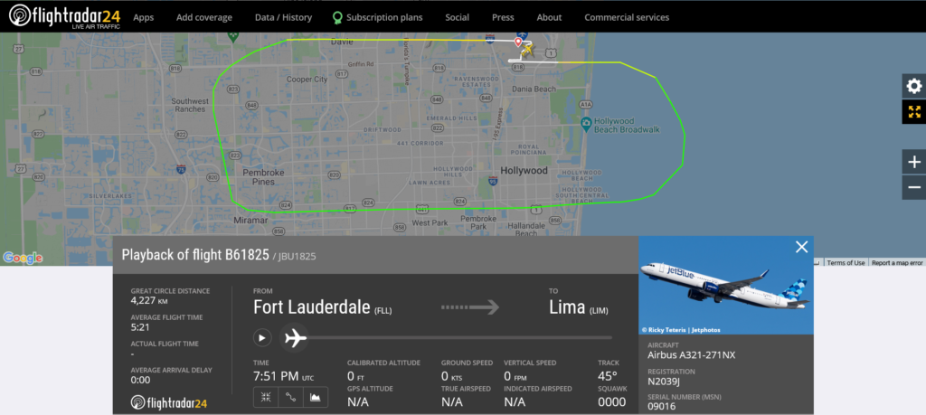 JetBlue flight B61825 from Fort Lauderdale to Lima returned to Fort Lauderdale due to bird strike