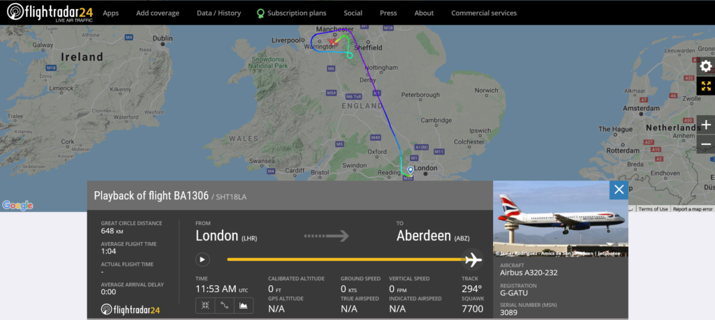 British Airways flight BA1306 from London to Aberdeen declared an emergency and diverted to Manchester due to medical emergency