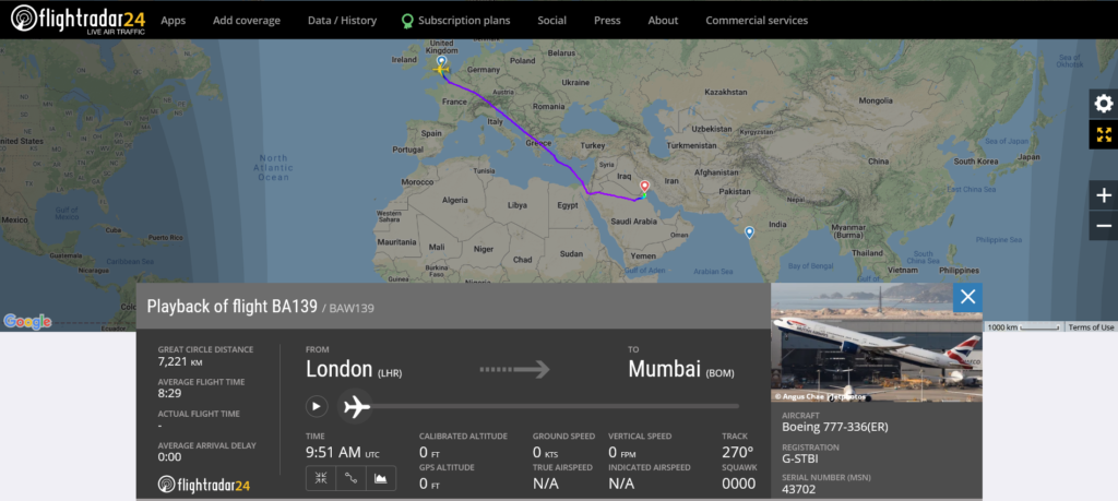 British Airways flight BA139 from London to Mumbai diverted to Kuwait City due to a medical emergency