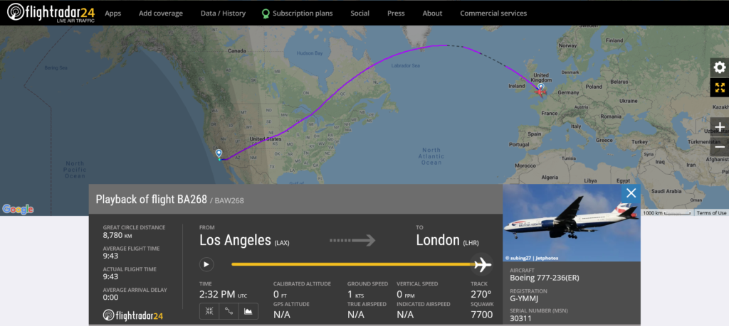 British Airways flight BA268 from Los Angeles to London declared an emergency and requested priority landing due to medical emergency
