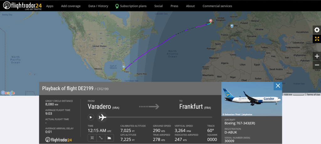 Condor flight DE2199 from Varadero to Frankfurt diverted to Shannon due to medical emergency