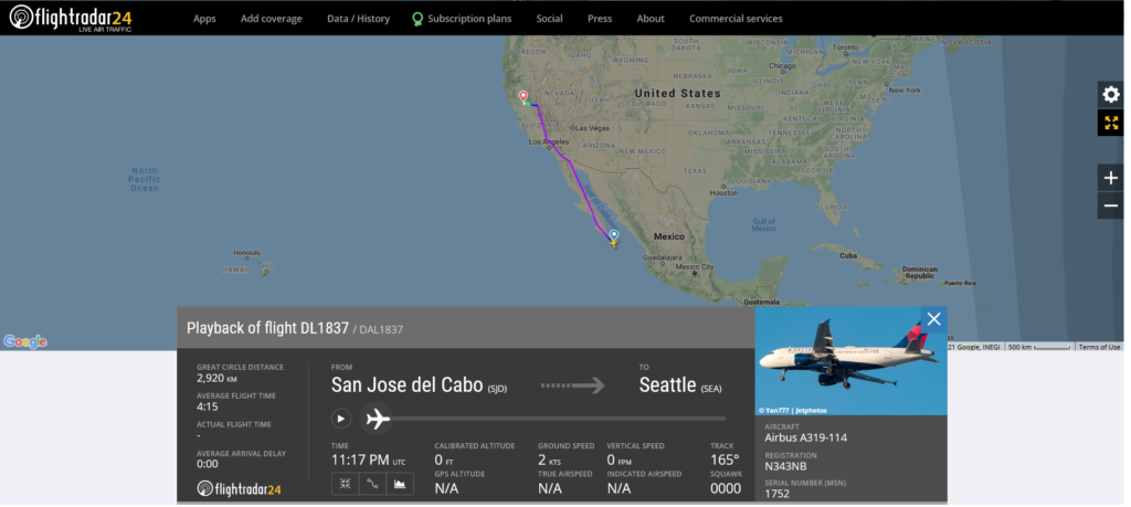 Delta Air Lines flight DL1837 from San Jose del Cabo to Seattle diverted to Sacramento due to medical emergency