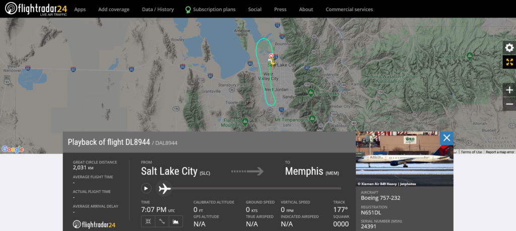 Delta Air Lines flight DL8944 from Salt Lake City to Memphis returned to Salt Lake City due to bird strike