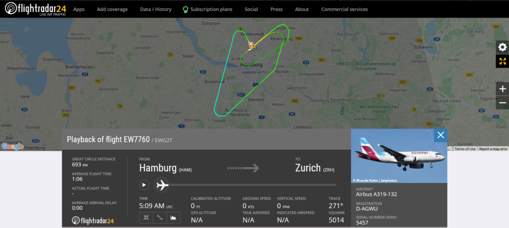Eurowings flight EW7760 from Hamburg to Zurich returned to Hamburg due to landing gear issue