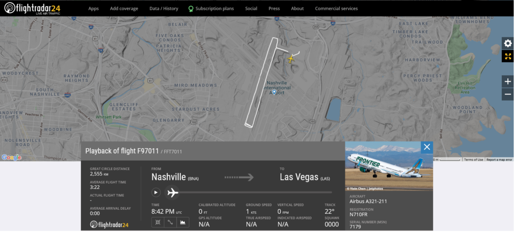 Frontier Airlines flight F97011 from Nashville to Las Vegas cancelled takeoff due to an improper deicing